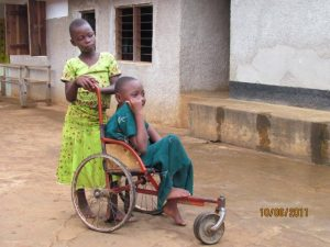 A girl in an old wheel chair