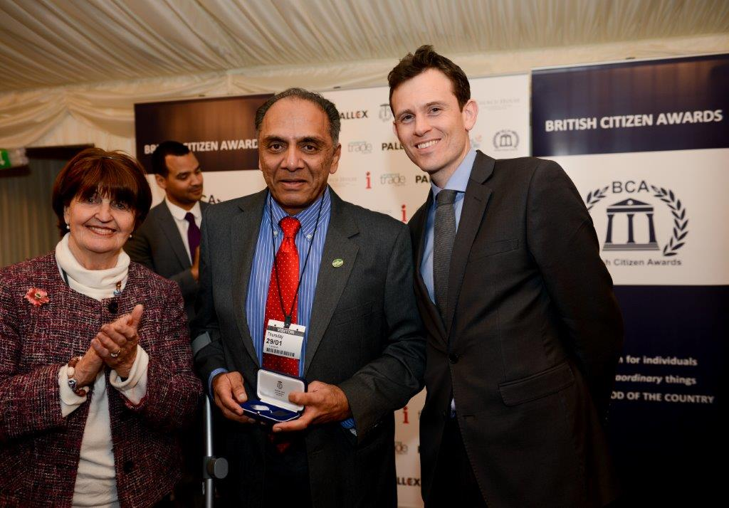 Polio and Children In Need Charity Co-founder Arun Patel along with Baroness Cox of Queensbury, at the British Citizen's Award.