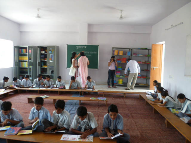 Busy hour in the school's first-ever library