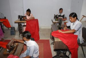 Busy in a sewing class