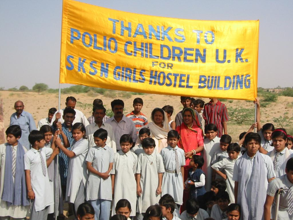 Children at the opening ceremony of the girls hostel