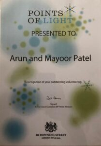 David Cameroon points of light award for Arun Patel and Mayoor Patel