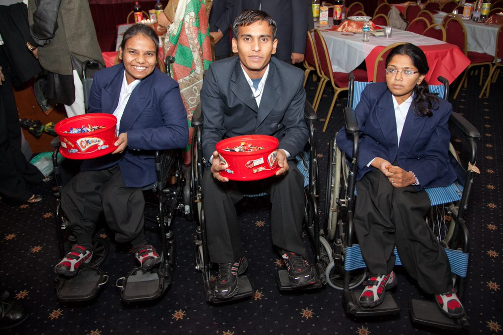 Handicapped children from SKSN, India, assisting at the fundraising event in London
