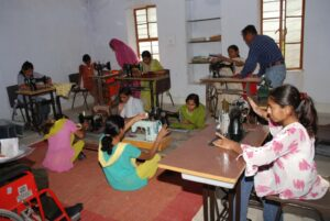 Receiving instructions in a sewing class