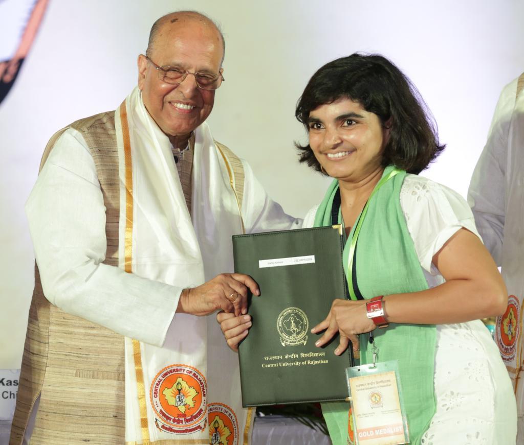 Gold medalist Jeetu receiving her Master's degree