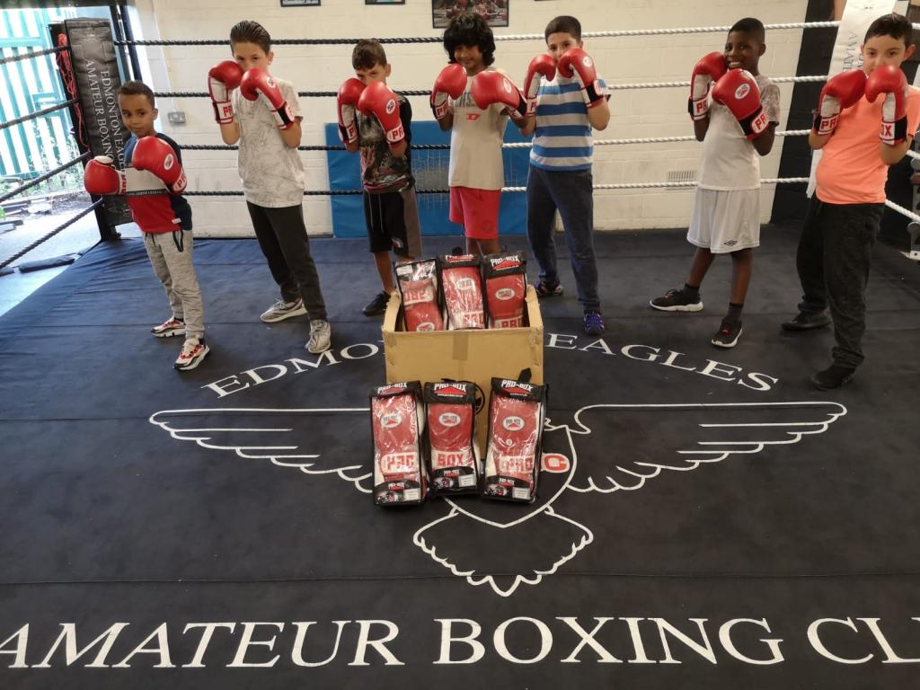 Young kids familiarizing themselves with boxing gear