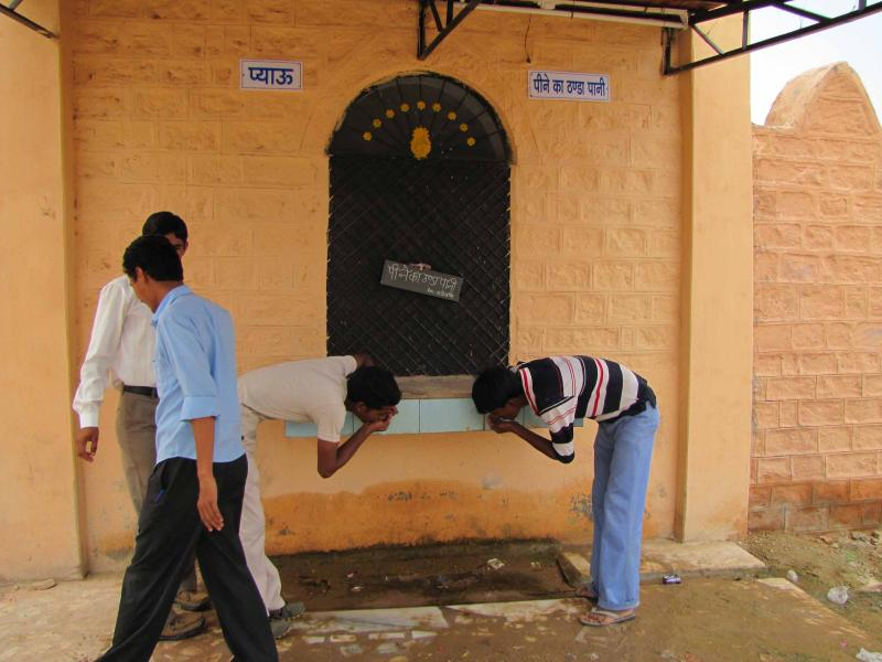 Serving the community--water fountain benefitting both both the students and locals
